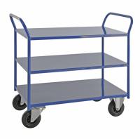 Etagenwagen mit 3 Böden, vollständig geschweißt, 3 Ebenen, 1070x550x975 mm, 400 kg Tragfähigkeit, Blau, ohne Bremsen