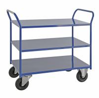 Etagenwagen mit 3 Böden, vollständig geschweißt, 3 Ebenen, 1070x550x975 mm, 400 kg Tragfähigkeit, Blau, mit Bremsen