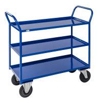 Etagenwagen mit 3 Böden, vollständig geschweißt, 3 Ebenen, 1070x550x1000 mm, 400 kg Tragfähigkeit, Blau, mit Bremsen