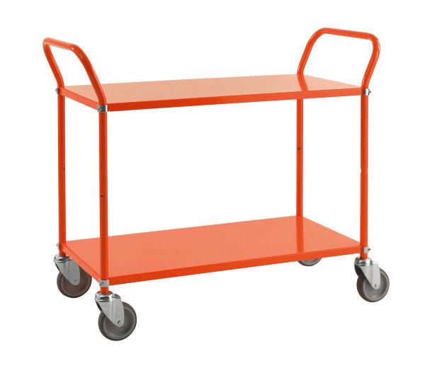 Farbiger Wagen mit 2 Böden, 2 Ebenen, 900 x 440 mm, 250 kg Tragfähigkeit, Orange , ohne Bremsen