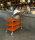 Farbiger Wagen mit 3 Böden, 3 Ebenen, 900 x 440 mm, 250 kg Tragfähigkeit, Burgund, ohne Bremsen