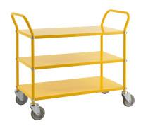 Farbiger Wagen mit 3 Böden, 3 Ebenen, 900 x 440 mm, 250 kg Tragfähigkeit, Gelb, mit Bremsen