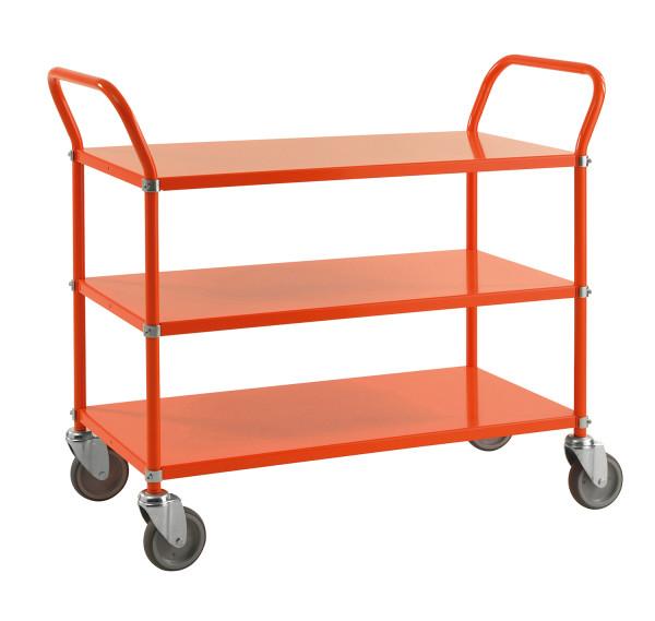 Farbiger Wagen mit 3 Böden, 3 Ebenen, 900 x 440 mm, 250 kg Tragfähigkeit, Orange , mit Bremsen