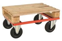 Palettenwagen - niedrig, 800x600x270 mm, 800 kg Tragfähigkeit, Rot, mit Bremsen