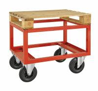 Palettenwagen - niedrig, 800x600x650 mm, 800 kg Tragfähigkeit, Rot, mit Bremsen