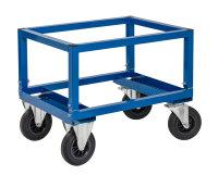Palettenwagen - niedrig, 800x600x654 mm, 800 kg Tragfähigkeit, Blau, ohne Bremsen