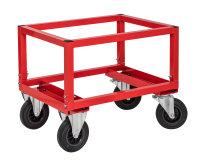 Palettenwagen - niedrig, 800x600x654 mm, 800 kg Tragfähigkeit, Rot, ohne Bremsen