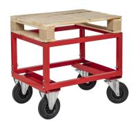Palettenwagen - niedrig, 800x600x654 mm, 800 kg Tragfähigkeit, Rot, mit Bremsen