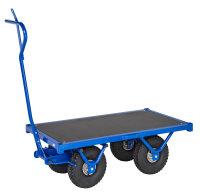 Schwerlastwagen, 1200 x 690 mm, 1300 kg Tragfähigkeit, Blau, luftbereift