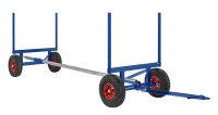Langgutwagen, 4000x1270x640 mm, 3500 kg Tragfähigkeit, mit unplattbaren Rädern, Blau