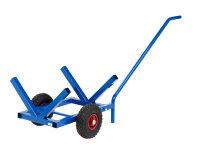 Langgutwagen, 1600x600x750 mm, 200 kg Tragfähigkeit, mit unplattbaren Rädern, Blau