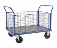 Kofferwagen, 1166x700x1020 mm, 500 kg Tragfähigkeit, Blau / MDF, braun, mit Bremsen