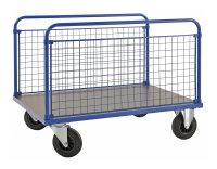 Plattformwagen, 1000x700x900 mm, 500 kg Tragfähigkeit, Blau / MDF, braun, ohne Bremsen