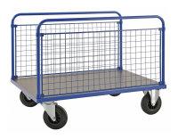 Plattformwagen, 1200x800x900 mm, 500 kg Tragfähigkeit, Blau / MDF, braun, ohne Bremsen