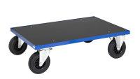 Plattformwagen, 1 Ebenen, 1000x700x260 mm, 500 kg Tragfähigkeit, Blau / MDF, braun, ohne Bremsen