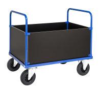 Kofferwagen, 1 Ebenen, 1200x800x900 mm, 500 kg Tragfähigkeit, MDF, braun / Blau, ohne Bremsen