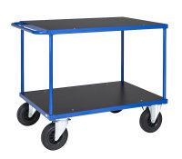Tischwagen, 2 Ebenen, 1200 x 800 mm, 500 kg Tragfähigkeit, Blau / MDF, braun, ohne Bremsen