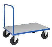 Plattformwagen, 1 Ebenen, 1200x800x900 mm, 500 kg Tragfähigkeit, Blau / Verzinkt, mit Bremsen