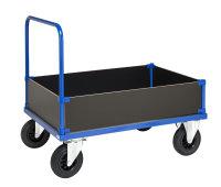 Kofferwagen, 1 Ebenen, 1000x700x900 mm, 500 kg Tragfähigkeit, Blau / Verzinkt, ohne Bremsen