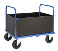 Kofferwagen, 1 Ebenen, 1200x800x900 mm, 500 kg Tragfähigkeit, Blau / Verzinkt, ohne Bremsen
