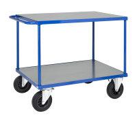 Tischwagen, 2 Ebenen, 1000 x 700 mm, 500 kg Tragfähigkeit, Blau / Verzinkt, ohne Bremsen