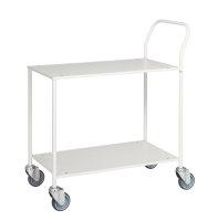 Kleiner Tischwagen, vollständig geschweißt, 2 Ebenen, 755 x 430 mm, 150 kg Tragfähigkeit, Weiß / Weiß, ohne Bremsen