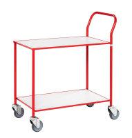 Kleiner Tischwagen, vollständig geschweißt, 2 Ebenen, 755 x 430 mm, 150 kg Tragfähigkeit, Weiß / Rot, ohne Bremsen