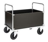Kofferwagen, 1200x800x900 mm, 500 kg Tragfähigkeit, Verzinkt / MDF, braun, mit Bremsen
