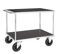 Tischwagen, 2 Ebenen, 1000 x 700 mm, 500 kg Tragfähigkeit, Verzinkt / MDF, braun, mit Bremsen