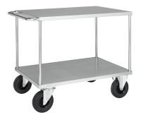 Tischwagen, 2 Ebenen, 1000 x 700 mm, 500 kg Tragfähigkeit, Verzinkt, ohne Bremsen