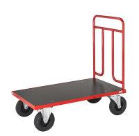 Plattformwagen, 1200x700x1000 mm, 500 kg Tragfähigkeit, Rot / MDF, braun, ohne Bremsen