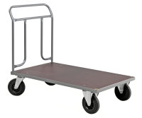 Plattformwagen, 1074x600x1000 mm, 500 kg Tragfähigkeit, Grau / MDF, braun, ohne Bremsen