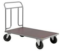 Plattformwagen, 1274x700x1000 mm, 500 kg Tragfähigkeit, Grau / MDF, braun, ohne Bremsen