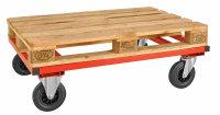 Palettenwagen 1200x100, 1200x1000x305 mm, 800 kg Tragfähigkeit, Rot, mit Bremsen