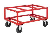 Palettenwagen 1200x100, 1200x1000x650 mm, 800 kg Tragfähigkeit, Rot, mit Bremsen