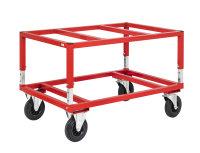 Palettenwagen 1200x100, 1200x1000x655 mm, 800 kg Tragfähigkeit, Rot, mit Bremsen