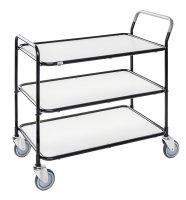 Tischwagen, 3 Ebenen, 850 x 508 mm, 250 kg Tragfähigkeit, Schwarz / Weiß