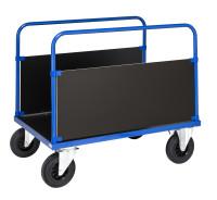 Plattformwagen, 1 Ebenen, 1000x700x900 mm, 500 kg Tragfähigkeit, Blau / MDF, braun, ohne Bremsen