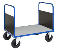 Plattformwagen, 1 Ebenen, 1000x700x900 mm, 500 kg Tragfähigkeit, Blau / Verzinkt, mit Bremsen
