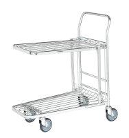Einkaufswagen, 2 Ebenen, 860x530x1010 mm, 300 kg Tragfähigkeit, Verzinkt
