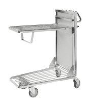 Einkaufswagen ergonomisch, 2 Ebenen, 960x530x1100 mm, 300 kg Tragfähigkeit, Verzinkt