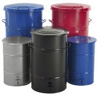 Abfallbehälter aus Stahl mit 30 bis 160 Liter Fassungsvermögen und Fußöffner, verschiedene Farben