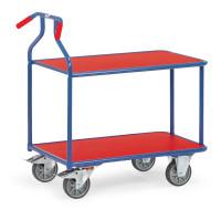 Optiliner-Tischwagen 3601  blau/rot, 2 Ebenen, 900 x 600  mm, 400 kg Tragfähigkeit, Blau, mit Bremse