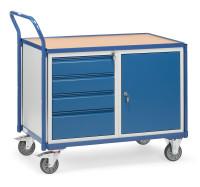 Tischwagen 2635, 1 Ebenen, 1000 x 600  mm, 300 kg Tragfähigkeit, Grau, mit Bremse