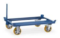 Paletten-Fahrgestell 22601 als Routenzug, 1210 x 810  mm, 1000 kg Tragfähigkeit, Blau, mit Bremse
