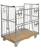 Rollcontainer mit Holzboden, 1200x800x1420 mm, 500 kg Tragfähigkeit, Verzinkt / Birkenholz