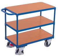 Schwerer Tischwagen mit 3 Ladeflächen