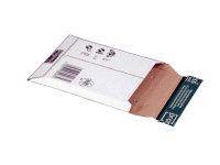 Versandtasche Längsbefüllung aus Wellpappe weiß (E DU) m. Selbstklebeverschluß u. Aufreißfaden, DIN CD, 145x190x -25 mm, Weiß