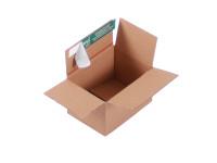 System-Versand-Transportkarton mit progressBOX Boden und Selbstklebeverschluß und Aufreißfaden - 1-wellig, DIN C6, 165x120x100-80 mm, Braun