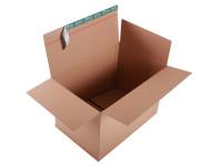 System-Versand-Transportkarton mit progressBOX Boden und Selbstklebeverschluß und Aufreißfaden - 2-wellig, 590x390x400-265 mm, Braun